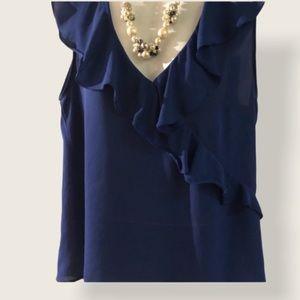 $12🌺ZARA (M) Royal Blue Blouse w/ruffle neckline!